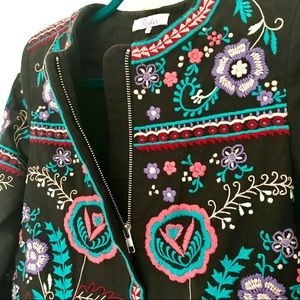 Parker Jackets & Coats - Parker Embroidered Halston Floral Jacket
